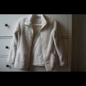 White Fluffy Zip Up Winter Coat